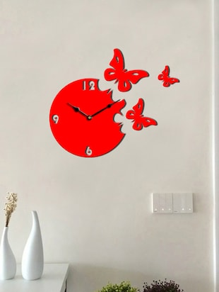 Sehaz Artworks Moon Butterfly Red_Black Wall Clocks - 12820798 - Standard Image - 2