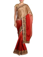 Orange And Beige Embroidered Satin Silk Saree - By