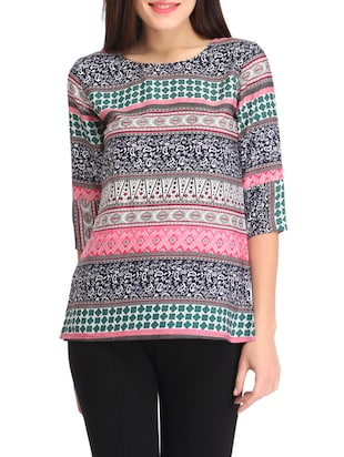multicolored printed rayon regular top