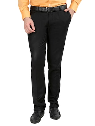 black  set of 2 polyester flat front trousers formal trouser - 12823770 - Standard Image - 2