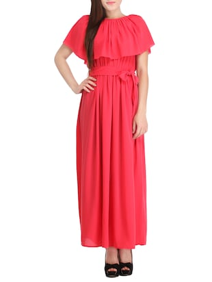 coral red crepe dress