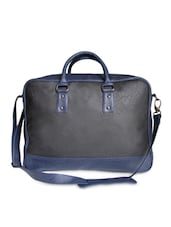 Textured Black Leatherette Laptop Bag - By