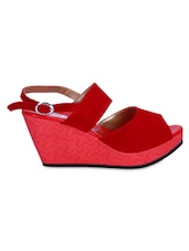 Red Velvet Peep-Toe Wedge Sandals - By