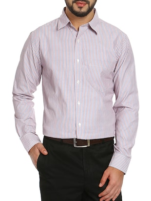 pink cotton striped formal shirt -  online shopping for formal shirts