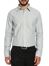 brown cotton striped formal shirt -  online shopping for formal shirts