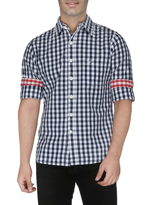 navy blue cotton checked casual shirt -  online shopping for casual shirts