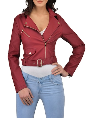 solid red leatherette jacket