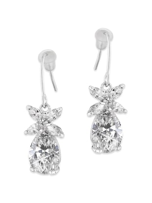 Rhodium Plated Floral Drops White Cubic Zirconium Dangle Earrings for Women and Girls