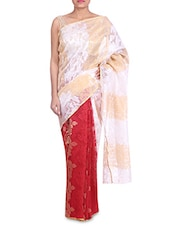 White Banarasi Silk Zari Plain Paisley Saree - By