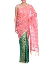 Pink Banarasi Silk Plain Zari Paisley Saree - By