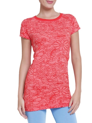 pink floral embroidered viscose regular top