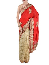 Beige Net And Poly Georgette Embroidered  Saree - By
