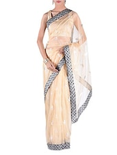 Beige Net Zardosi Embroidered Saree - By
