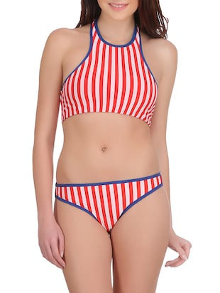 red striped satin bikini