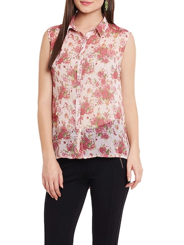 floral high-low shirt - 12846352 - Standard Image - 1