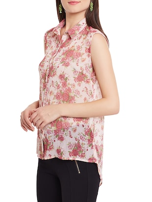 floral high-low shirt - 12846352 - Standard Image - 2