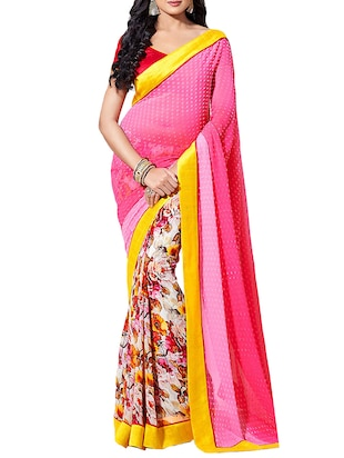 Pink georgette printed half and half saree with blouse