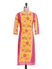 Yellow And Pink Cotton Printed Kurta - By