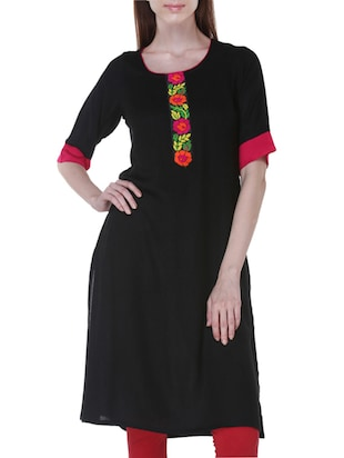 Black Handloom Cotton Kurta
