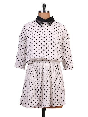 White and Black Polka Print Dress