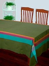 Dhrohar Hand Woven Cotton Table Cover For 4 Seater Table - Green - By