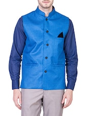 solid blue cotton nehru jacket -  online shopping for Nehru Jacket