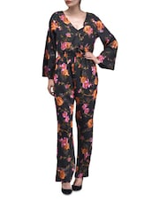 Multicolored Polyester Printed Floral Jumpsuit With Gathers - By