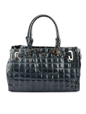 Solid Grey Faux Leather Handbag - By