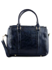 Textured Navy Blue Faux Leather Handbag - By