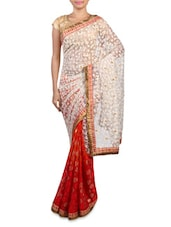 Pink Net And Brasso Embroidered Saree - By