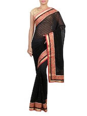 Shaded Black Embroidered Georgette Saree - By