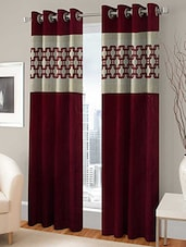 TRENDZ HOME FURNISHING  EYELET MAROON DOOR CURTAIN SET OF 2 - By