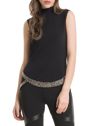 black embellished top