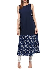 blue cotton a-line kurta -  online shopping for kurtas