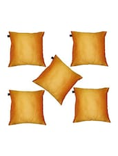 """Lushomes Yellow Dupion Silk Cushion Covers (Pack Of 5) Size 16""""x16"""" - By"""