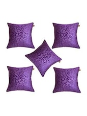 """Lushomes Purple Embossed Blackberry Cushion Cover (Pack Of 5) Size : 16""""x16"""" - By"""