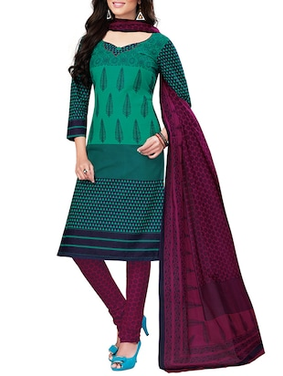 green printed cotton salwar suits dress material