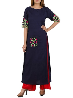 blue khadi long kurta
