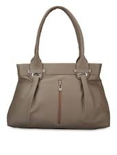 Solid Grey Leatherette Handbag - By