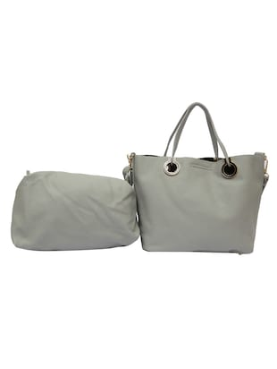 grey leatherette tote