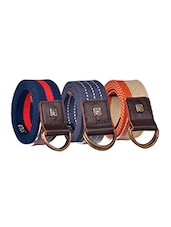 Pack Of 3 Multi Colored Canvas Belt - By - 12890470