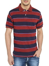 red cotton striped t-shirt -  online shopping for T-Shirts