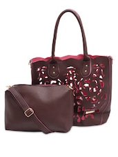 Brown Cut-work Detailed Handbag With Matching Sling Bag - By