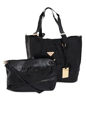 Textured Black Faux Leather Tote With Sling  Bag - By