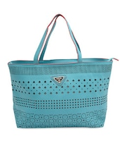 Blue Cut-work Detailed Handbag With Sling Bag - By