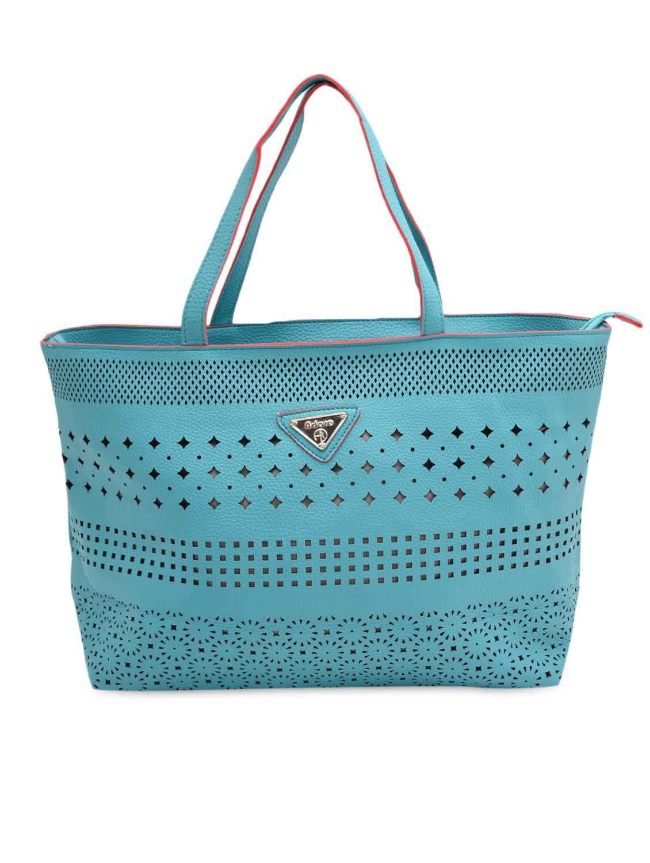 Blue Cut-work Detailed Handbag With Sling Bag - By