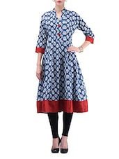 Navy And White Leaf Printed Cotton Anarkali Kurti - By