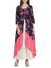 Multi Colored Rayon Printed Asymmetric Kurta - By