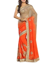 Orange Chiffon Saree With Blouse Piece - By