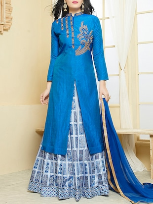 blue flared embroidered semi-stitched suit